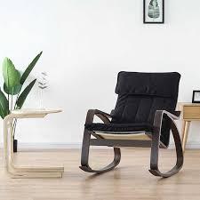 Comfortable <b>Relax</b> Wood Adult Rocking <b>Chair Armchair Black</b> ...