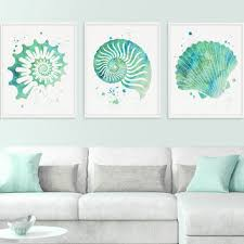 seashell wall art watercolor seashell nautical wall art nauti on green wall art decor with shop seafoam green wall art on wanelo