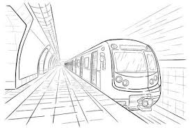 subway train sketch. Contemporary Train Hand Drawn Ink Line Sketch Subway Station Train In Outline Style  Perspective View Stock With Subway Train Sketch R