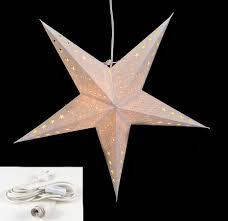 Leuchtstern 5 Zacken Weiß 60cm Papiertstern Weihnachtsstern