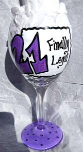 happy 21st birthday 20 oz hand painted wine glass