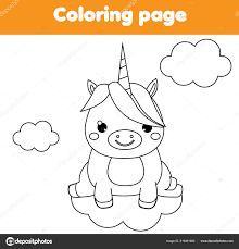 unicorn coloring page educational children game drawing printable activity kids stock vector