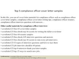Compliance Officer Cover Letter Top 5 Compliance Officer Cover Letter Samples