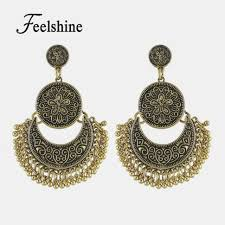 feelshine retro style ethnic chandelier earrings antique gold silver