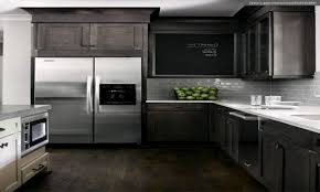 Dark Gray Kitchen Cabinets Creative Of Modern Kitchen With Black Appliances Gray Kitchen