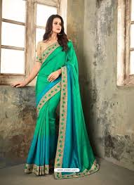 Jade Designer Sarees Jade Green Embroidered Shaded Apple Silk Designer Saree