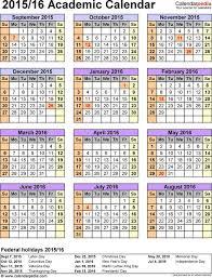 School Calendar 2015 16 Printable Template 5 Academic Calendar 2015 16 For Excel Portrait 1