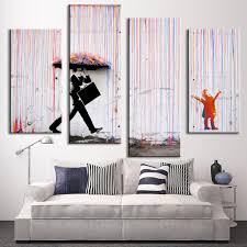 Painting For Living Room Wall Aliexpresscom Buy 4 Pictures Banksy Art Colorful Rain Oil
