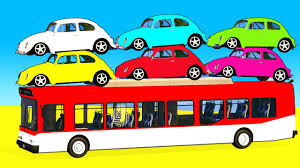 Fun Color Cars On Bus Spiderman Cartoon With Superheroes For
