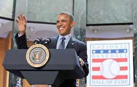 Image result for Obama with Jackie Robinson in the national baseball hall of fame and museum