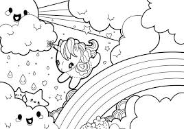 Rainy Rainbow Unicorn Scene Coloring Page Download Free Vector Art