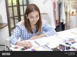 Fashion Designer Part Time Job Young Asian Designer Image Photo Free Trial Bigstock