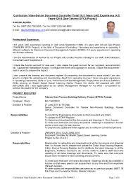 Job Profile Of Document Controller Curriculum Vitae Senior Document Controller Total 18 5 Years