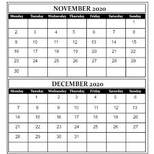 November And December 2020 Free Printable Calendar