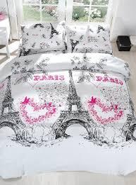 100% Cotton 3pcs Paris Hearts Single Twin Size Duvet Cover Set ... & 100% Cotton 3pcs Paris Hearts Single Twin Size Duvet Cover Set Eiffel Theme  Bedding Linens Adamdwight.com