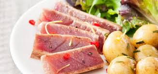 grilled ahi tuna steak with lemon zest and rosemary