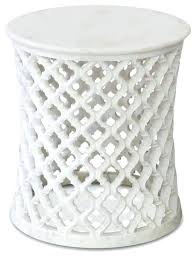 white round side table fantastic white round accent table global bazaar white marble fretwork round side