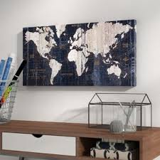 >world map wall art  old world map blue graphic art on wrapped canvas