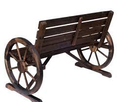 wood wagon wheel bench 42