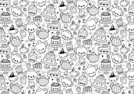 A Cute And Kawaii Coloring Page Featuring A Fabulous Tea Party And