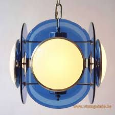 veca 1960s white blue glass chandelier