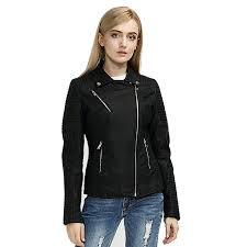 black las pu leather jacket women