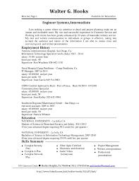 Engineer Systems, Intermediate Resume
