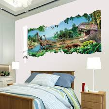 aeproduct getsubject  on dinosaur bedroom wall stickers with 3d dinosaurs through the wall stickers home decoration diy cartoon