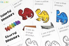 Young kids will love to color the bunny picture and use different colors to decorate the words, to make it perfect for decorating the wall during easter celebrations. Explore Color Words With A Free Printable Dinosaur Emergent Reader Fun A Day