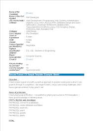 Php Developer Resume Php Fresher Resume Format Templates At