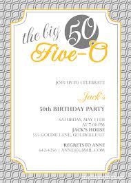 50th Birthday Invitations Templates The Big Five O 50th Birthday Invitation Wedding