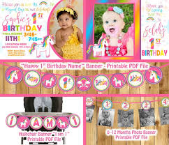 1st birthday banner unicorn birthday party decorations package unicorn birthday banner