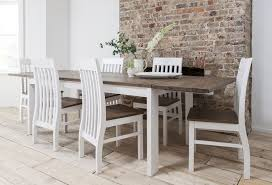 perfect white dining table and chair set dark pine with extending hever 6 bench 4 grey