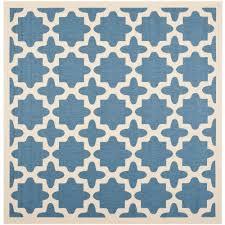 safavieh courtyard blue beige 5 ft x 5 ft indoor outdoor square