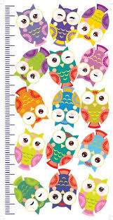 Owls Children Height Meter Wall Sticker Kids Measure