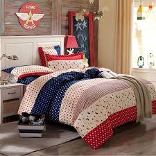 american style soft cotton bed sheet set 4pc blue red white bold stripe