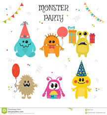 Lil Monster Birthday Invitations Cute Little Monsters Birthday Party Stock Vector Illustration Of