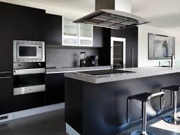 Modern Black Kitchen Cabinets Elegant Black Modern Kitchen Cabinets With Double Bar Stool