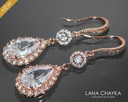 rose gold crystal bridal earrings cubic zirconia chandelier wedding earrings rose gold dangle cz earrings sparkly bridal crystal jewelry 37 50 usd