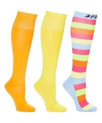 Fitdio Yellow Orange 15 20 Mmhg Compression Knee High Socks Set Women