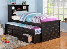 Amazon.com: BLACK CAPTAIN TWIN BOOKCASE BED W/TRUNDLE BED AND 3 ...