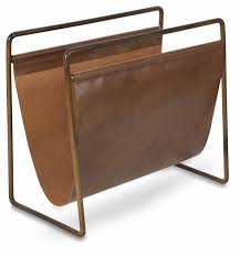Brown Leather Magazine Holder Classy Leather Magazine Holder With Antique Brass Frame April Oak