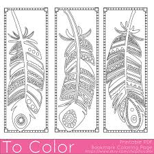 Small Picture Printable Feathers Coloring Page Bookmarks for Adults PDF