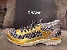 chanel tennis shoes. chanel 14k lace up tweed metallic leather tennis sneakers kicks shoes $1350 chanel