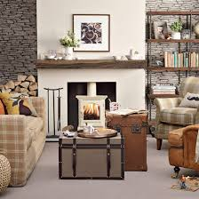 Country Living Room With Cream Wood Burner
