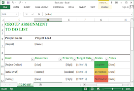 Todo List In Excel Group Assignment To Do List Template For Excel Online