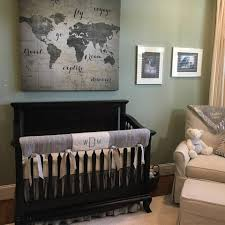 gray baby nursery decor grey crib bedding in a travel theme nursery and we added