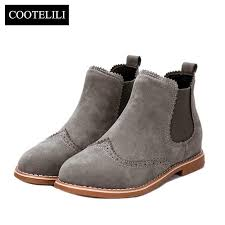 women ankle boots flat heels shoes woman suede leather boots brogue cut outs slip on black gray plus size 40 mens boots thigh high boots from bags wallets