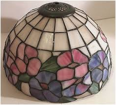 vintage leaded stained glass lamp shade tiffany style pink