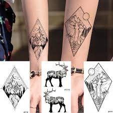 Men Geometric Round Triangle Temporary Tattoo Galaxy Stars High